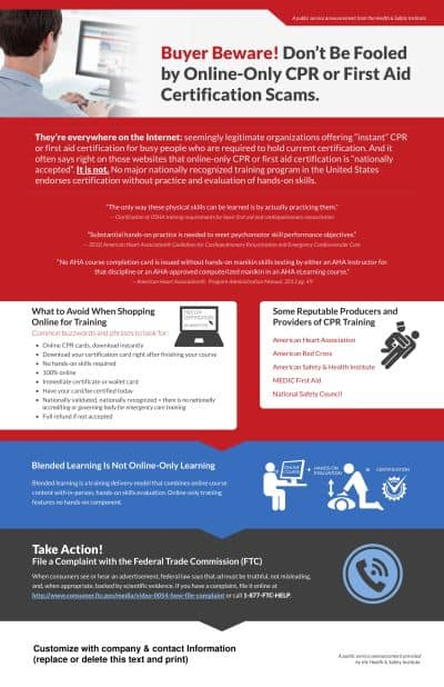 HSI 039 Certification Scam Poster 1 | Online Only CPR Scam?